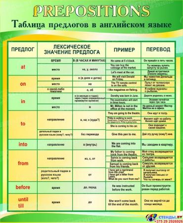 Стенд Таблица предлогов в кабинет английского языка в золотисто-зелёных тонах 700*850 мм