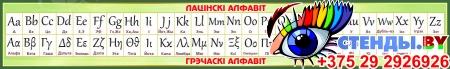 Стенд Таблица Латинский, Греческий алфавит на белорусском языке в золотисто-зелёных тонах 1950*300мм