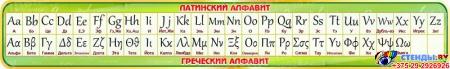 Стенд Таблица с Латинским и Греческим алфавитом в золотисто-зеленых тонах 1950*300мм