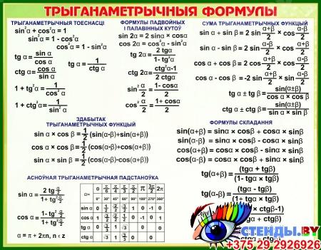 Стенд Трыганаметрычныя формулы на белорусском языке в зеленых тонах 830*650 мм