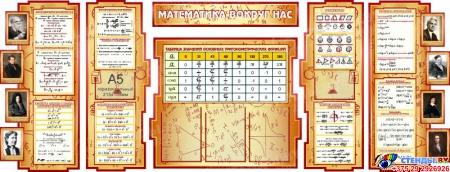 Стенд в кабинет Математики Математика вокруг нас с формулами  2506*957мм