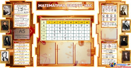 Стенд в кабинет Математики Математика вокруг нас с формулами и тригономертической таблицей 1800*995мм