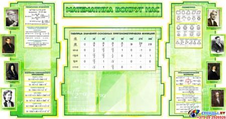 Стенд в кабинет Математики Математика вокруг нас с формулами зеленый 1800*995мм