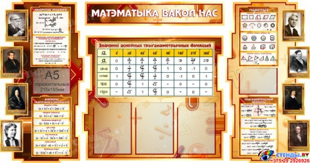 Стенд в кабинет Математики Матэматыка вакол нас на белорусском языке 1800*995мм