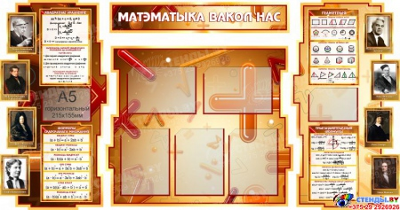 Стенд в кабинет Математики Матэматыка вакол нас на белорусском языке с формулами 1800*995мм