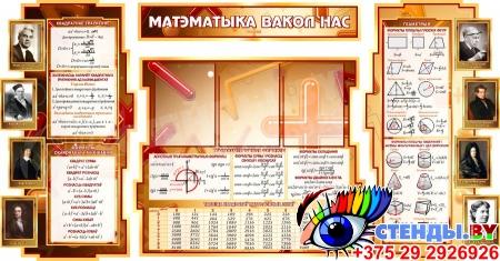 Стенд в кабинет Математики Матэматыка вакол нас на белорусском языке с формулами в золотисто-коричневых тонах 1800*995мм