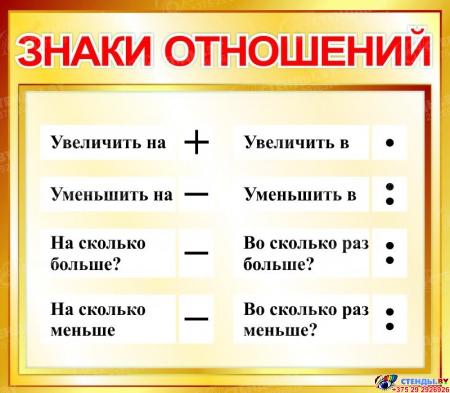 Стенд Знаки отношений для начальной школы в золотистых тонах 400*350мм