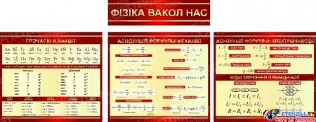 Стендовая композиция Фiзiка вакол нас в бордовых тонах на белорусском языке 2470*950мм