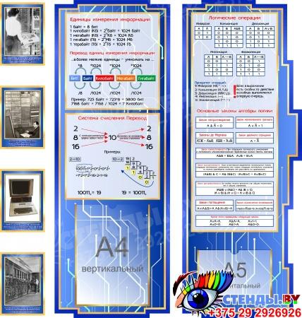 Стендовая композиция Информатика вокруг нас в синих тонах 2680*950 мм Изображение #1