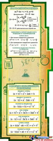 Стенд в кабинет Математики Математика вокруг нас с формулами в золотисто-зелёных тонах  2506*957мм Изображение #2